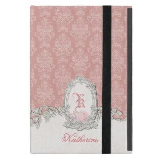 Monograma floral del vintage del damasco adornado iPad mini funda
