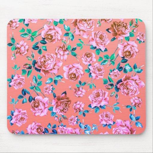 Monograma floral del vintage rosado femenino brill alfombrillas de ratón
