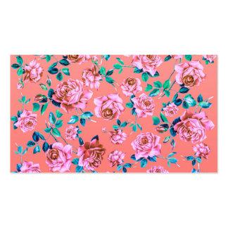 Monograma floral del vintage rosado femenino brill tarjeta de negocio