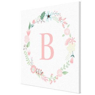 Monograma floral delicado de la guirnalda impresión en tela