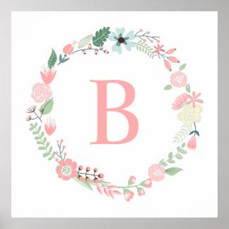 Monograma floral delicado de la guirnalda póster