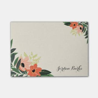 Monograma floral elegante de la frontera post-it® nota