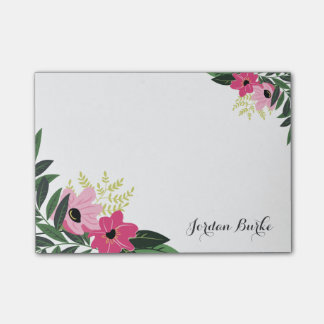 Monograma floral elegante de la frontera post-it® notas