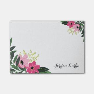 Monograma floral elegante de la frontera post-it nota
