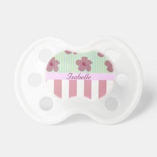 Monograma floral elegante de las rayas chupetes de bebe