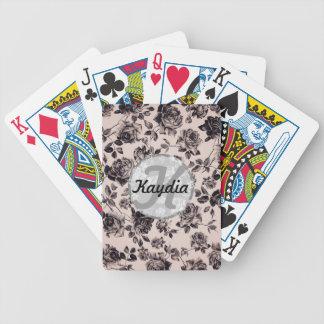 Monograma floral elegante de moda del vintage blan baraja de cartas bicycle