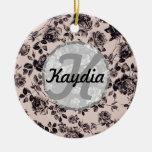 Monograma floral elegante de moda del vintage blan ornamento para arbol de navidad