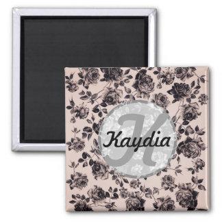 Monograma floral elegante de moda del vintage blan imán de frigorifico