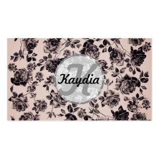 Monograma floral elegante de moda del vintage blan tarjeta personal