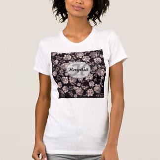 Monograma floral elegante de moda del vintage camiseta