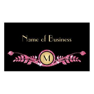 Monograma floral elegante del brillo rosado y tarjetas de visita