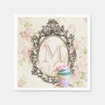 monograma floral femenino elegante moderno del fie servilleta de papel