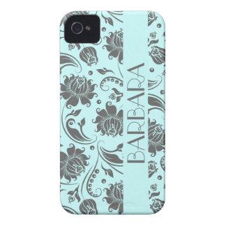 Monograma floral gris y azul claro 3 de los damasc iPhone 4 Case-Mate coberturas