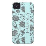 Monograma floral gris y azul claro 3 de los iPhone 4 Case-Mate coberturas