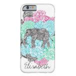 Monograma floral handdrawn del elefante de Boho Funda De iPhone 6 Barely There
