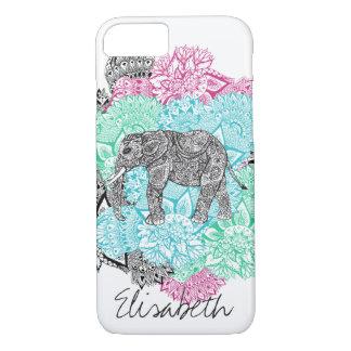 Monograma floral handdrawn del elefante de Boho Funda iPhone 7