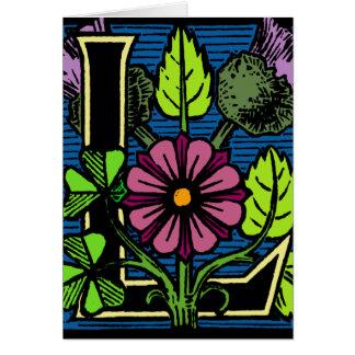 Monograma floral L Tarjeta Pequeña