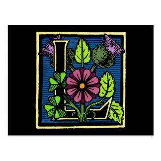 Monograma floral L Tarjeta Postal