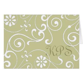 Monograma floral (luz) tarjeta de felicitación