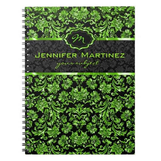 Monograma floral metálico negro y verde de los dam libretas espirales