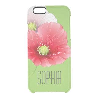 Monograma floral moderno de las amapolas bonitas funda clear para iPhone 6/6S