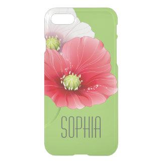 Monograma floral moderno de las amapolas bonitas funda para iPhone 7