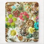 Monograma floral Mousepad del vintage Tapetes De Ratones