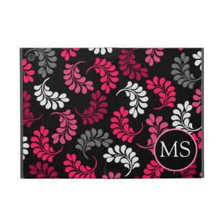 Monograma floral negro rosado rojo iPad mini cobertura