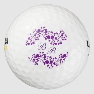 Monograma floral púrpura de las señoras pack de pelotas de golf