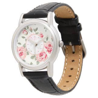 Monograma floral reloj de mano