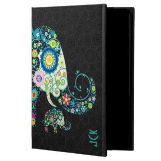 Monograma floral retro 2 de los damascos del negro