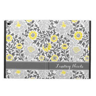 Monograma floral retro amarillo y gris del damasco