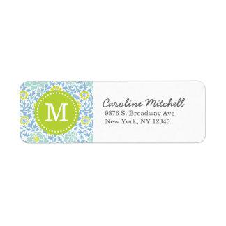 Monograma floral retro azul y verde del personaliz etiqueta de remitente