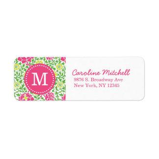 Monograma floral retro del personalizado del damas etiqueta de remitente