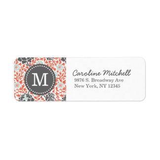 Monograma floral retro gris y coralino del persona etiqueta de remite