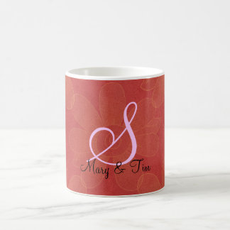 Monograma floral rojo del Esplendor: Tazas de café