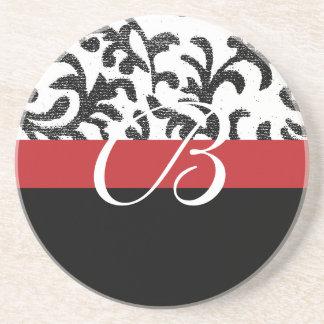 Monograma floral rojo posavaso para bebida