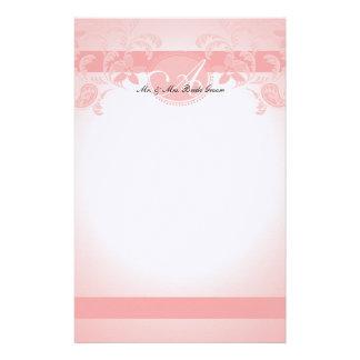 Monograma floral rosado de Paisley Papeleria De Diseño