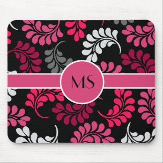 Monograma floral rosado rojo tapetes de ratón