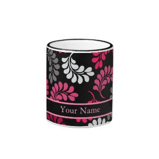 Monograma floral rosado rojo tazas de café