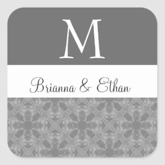 Monograma floral sutil gris y blanco M del boda Calcomanía Cuadradas Personalizadas