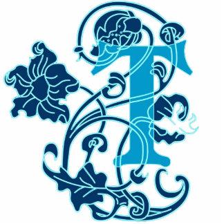 Monograma floral T de Nouveau del arte Fotoescultura Vertical