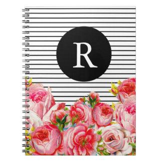 Monograma floral y de las rayas rosado note book