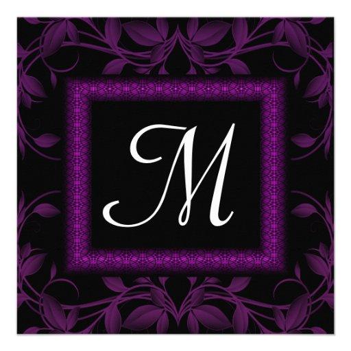 Monograma floral y enmarcado magenta y negro anuncio