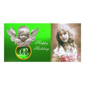 Monograma FLORENTINO de la gema del verde del ÁNGE Tarjetas Con Fotos Personalizadas
