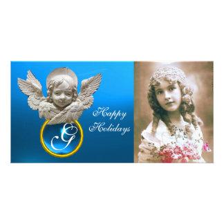 Monograma FLORENTINO de la gema del zafiro del Tarjetas Con Fotos Personalizadas