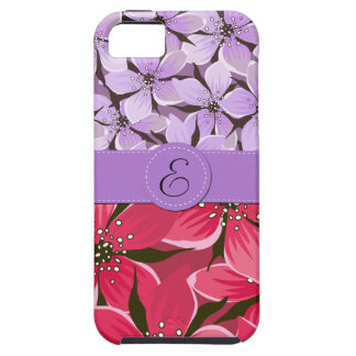 Monograma - flores flores pétalos - púrpura rosa