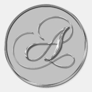 Monograma formal de plata del boda pegatinas de un pegatina redonda