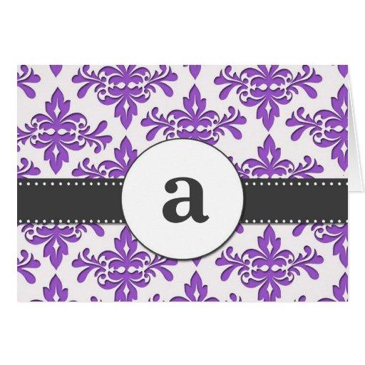 Monograma formal del damasco tarjeta pequeña