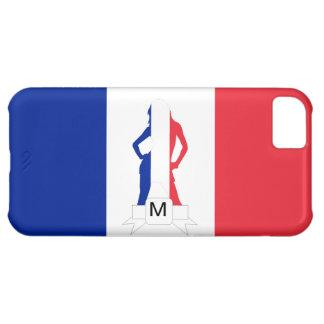 Monograma francés de la bandera y del chica funda iPhone 5C